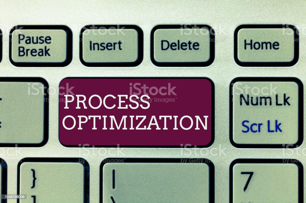 Handwriting text writing Process Optimization. Concept meaning Improve Organizations Efficiency Maximize Throughput stock photo