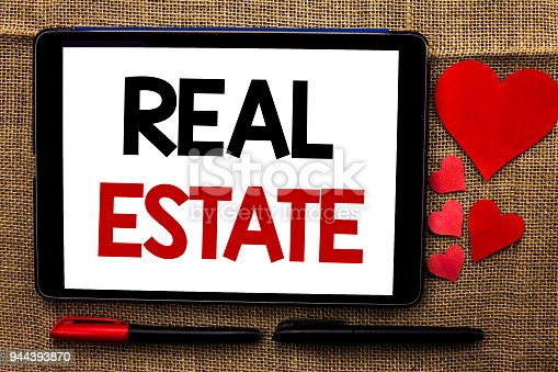 istock Handwriting text writing Real Estate. Concept meaning Residential Property Building Covered Land Chattels Real written on Tablet on the jute background Hearts and Pens next to it. 944393870