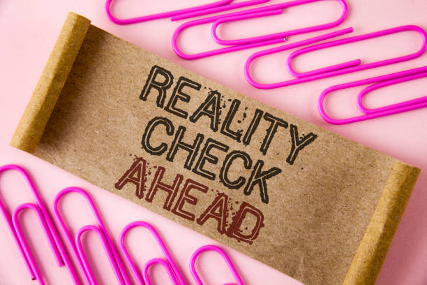 Handwriting text writing Reality Check Ahead. Concept meaning Unveil truth knowing actuality avoid being sceptical written on Folded Cardboard paper piece on plain background within Paper Pins Handwriting text writing Reality Check Ahead. Concept meaning Unveil truth knowing actuality avoid being sceptical written Folded Cardboard paper piece plain background within Paper Pins. real life stock pictures, royalty-free photos & images