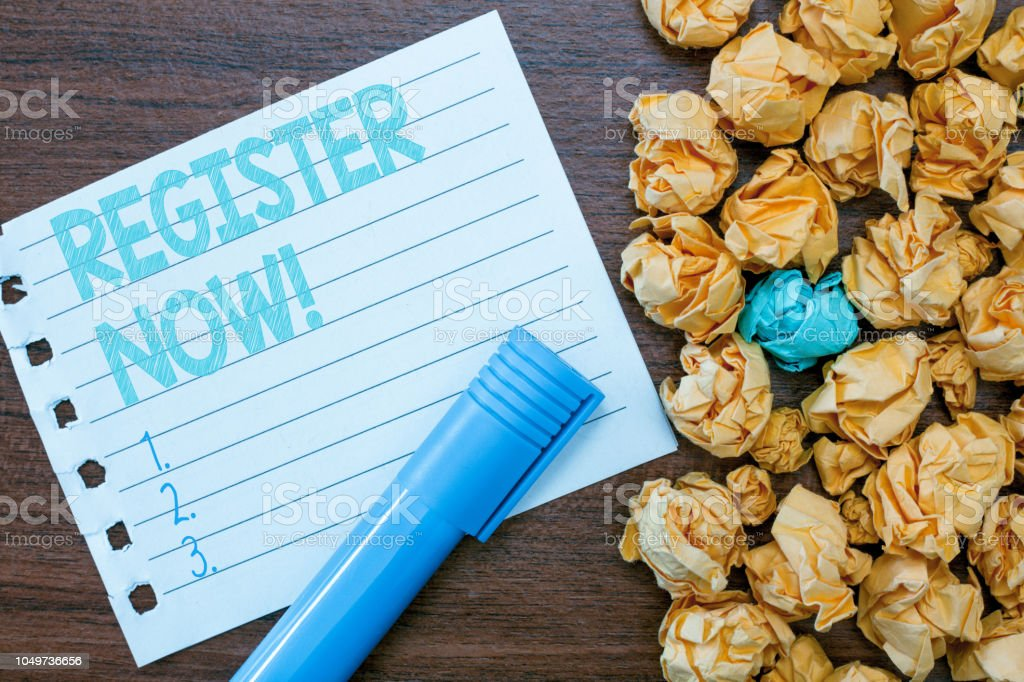 Handwriting text writing REGISTER NOW. Concept meaning To put information especially your name into an official list stock photo
