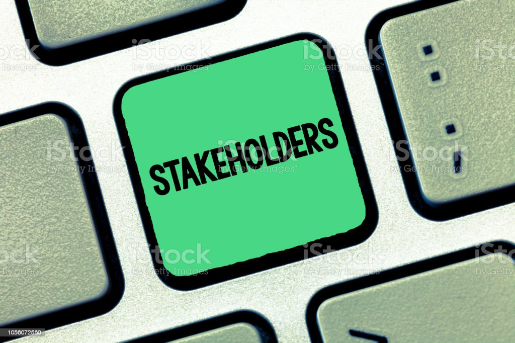 Handwriting text writing Stakeholders. Concept meaning Persons with interest or concern in something like a business stock photo