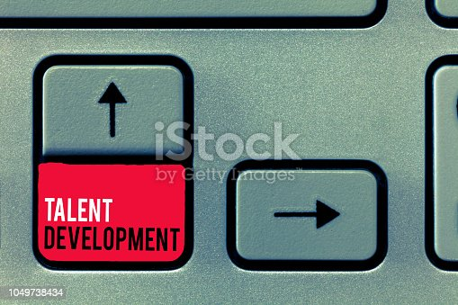 istock Handwriting text writing Talent Development. Concept meaning Building Skills Abilities Improving Potential Leader 1049738434