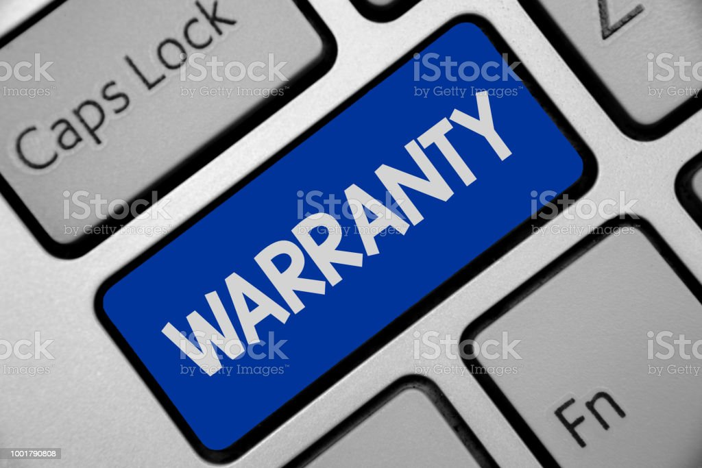 Handwriting text writing Warranty. Concept meaning Free service of repair and maintenance of the product sold Keyboard blue key Intention create computer computing reflection document. stock photo
