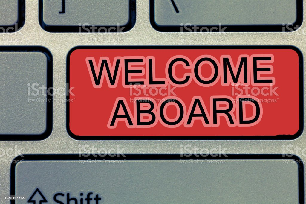 Handwriting text writing welcome aboard concept meaning expression handwriting text writing welcome aboard concept meaning expression of greetings to a person whose arrived m4hsunfo