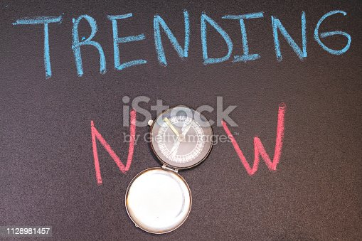 1128981457 istock photo handwriting trending now on chalkboard with colorful chalk and arabic compass 1128981457