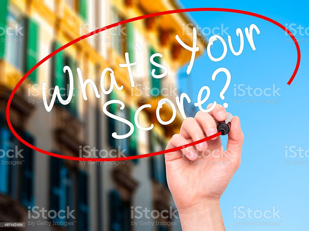Handwriting What's your Score? with marker on visual screen. stock photo