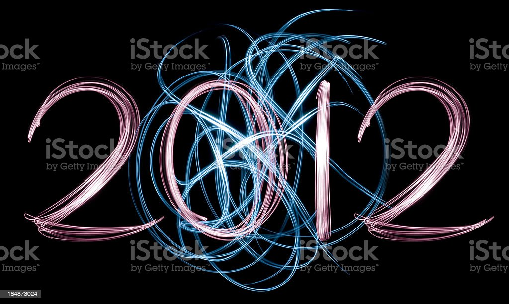 Handwritten 2012 with ball of light royalty-free stock photo