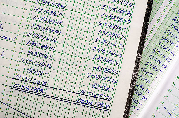 Handwritten accounting Handwritten accounting on the open pages of some old ledgers accounting ledger stock pictures, royalty-free photos & images