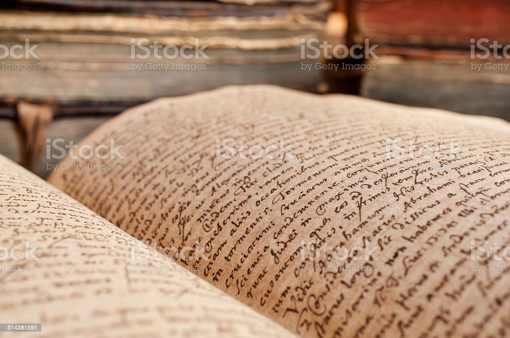 Handwritten antique book close-up stock photo