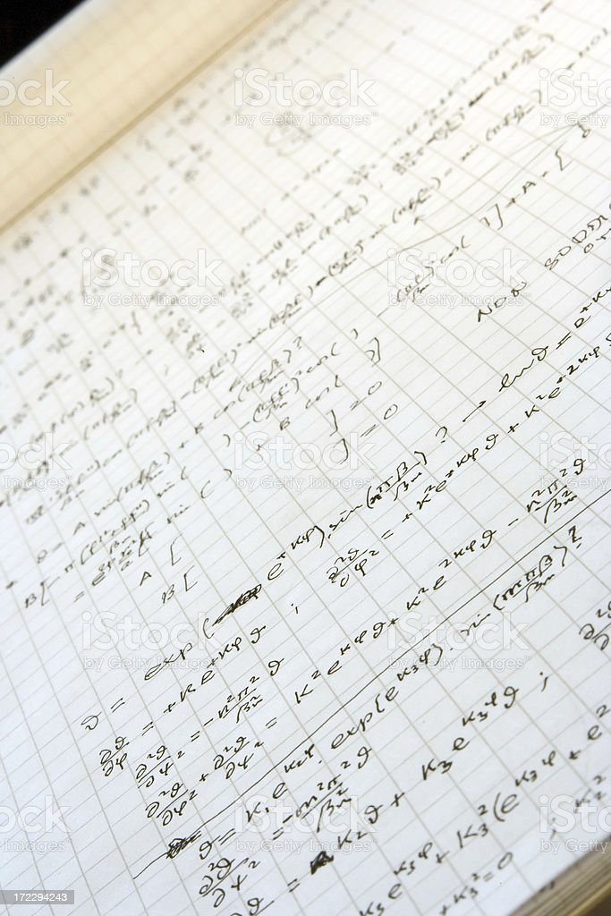 Handwritten complex formulas (real math) royalty-free stock photo