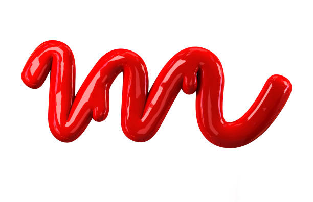 handwritten cursive small letter m leaky red alphabet stock photo more pictures of alphabet istock