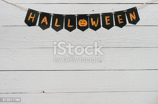 istock Handwritten halloween banner lettering 615517188