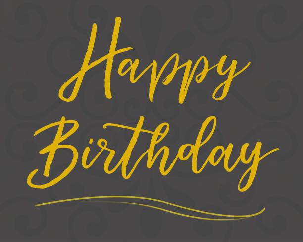 """handschriftliche """"happy birthday"""" karte - handschriftliche typografie stock-fotos und bilder"""