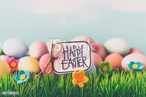 istock Handwritten Happy Easter message on sign in grass 657265342