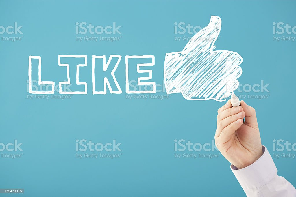 Handwritten LIKE and THUMBS UP social media royalty-free stock photo