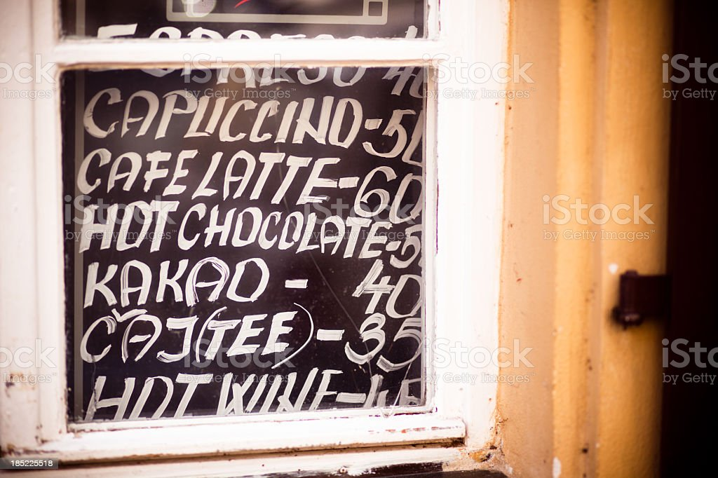 Handwritten Menu at Outdoor Cafe royalty-free stock photo