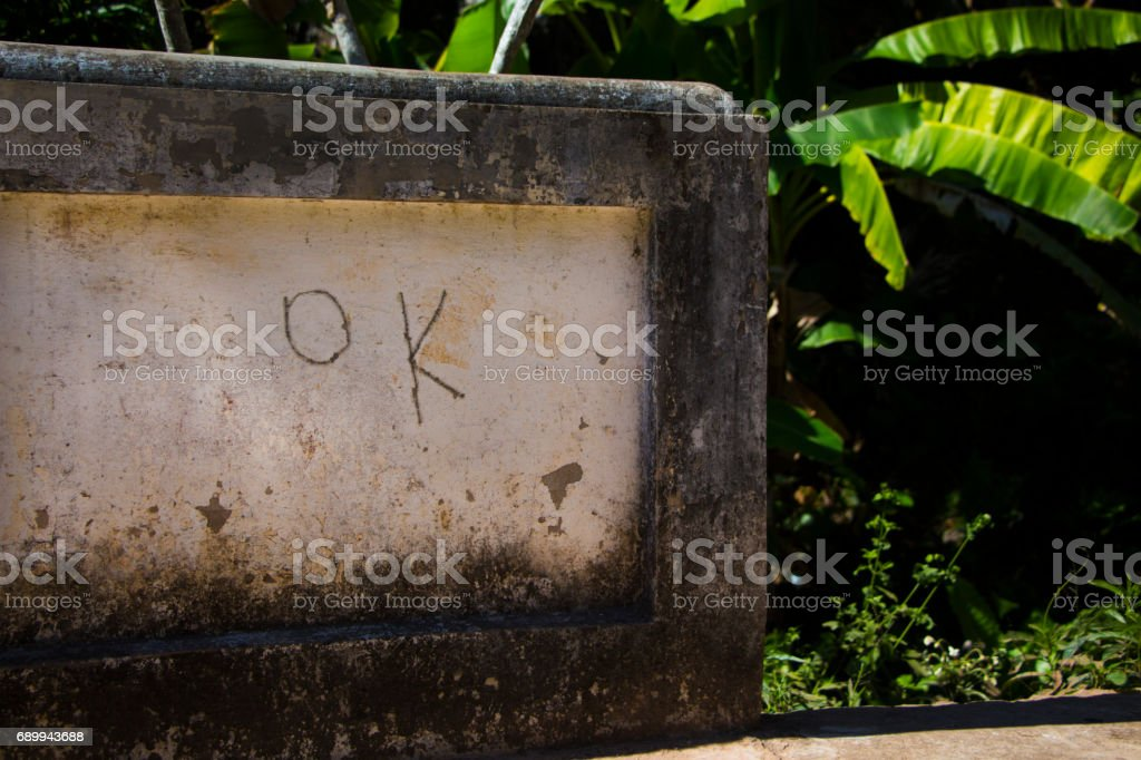 handwritten 'ok' stock photo