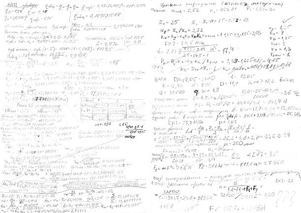 Handwritten page of draft calculations Handwritten page of draft calculations workbook stock pictures, royalty-free photos & images