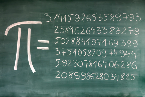Close-up of hand-written Pi numbers on green chalkboard. Focus on the blackboard.