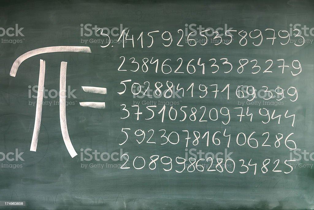 Hand-written Pi numbers on green chalkboard stock photo