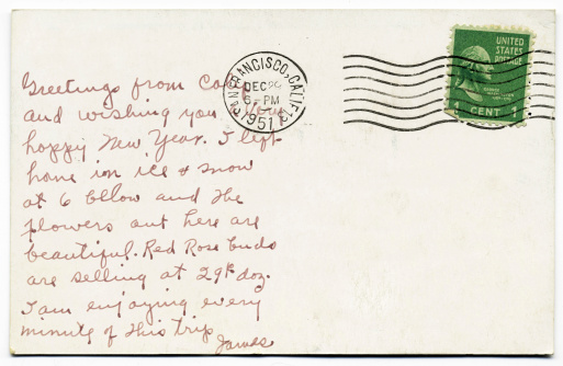 1951 handwritten postcard mailed from San Francisco, California with one cent George Washington stamp.