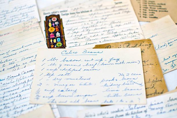 Handwritten Recipe Cards stock photo