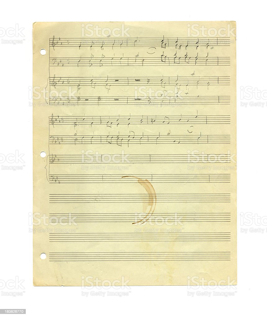 Handwritten Sheet Music on Worn Old Paper with Coffee Stain royalty-free stock photo