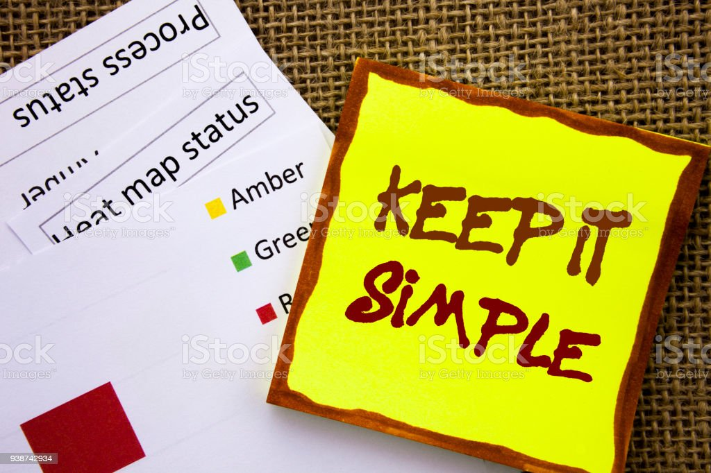 Handwritten text sign showing Keep It Simple. Business concept for Simplicity Easy Strategy Approach Principle written on Sticky Note Paper with Heat Map on textured background stock photo