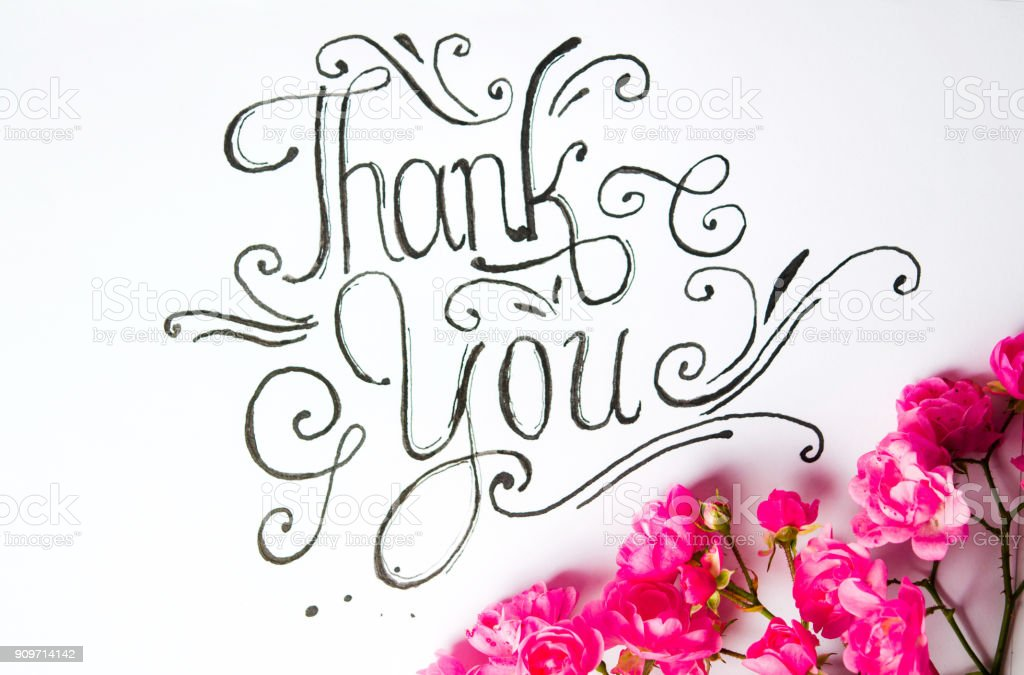 Handwritten Thank You Card With Flowers Stock Photo More Pictures