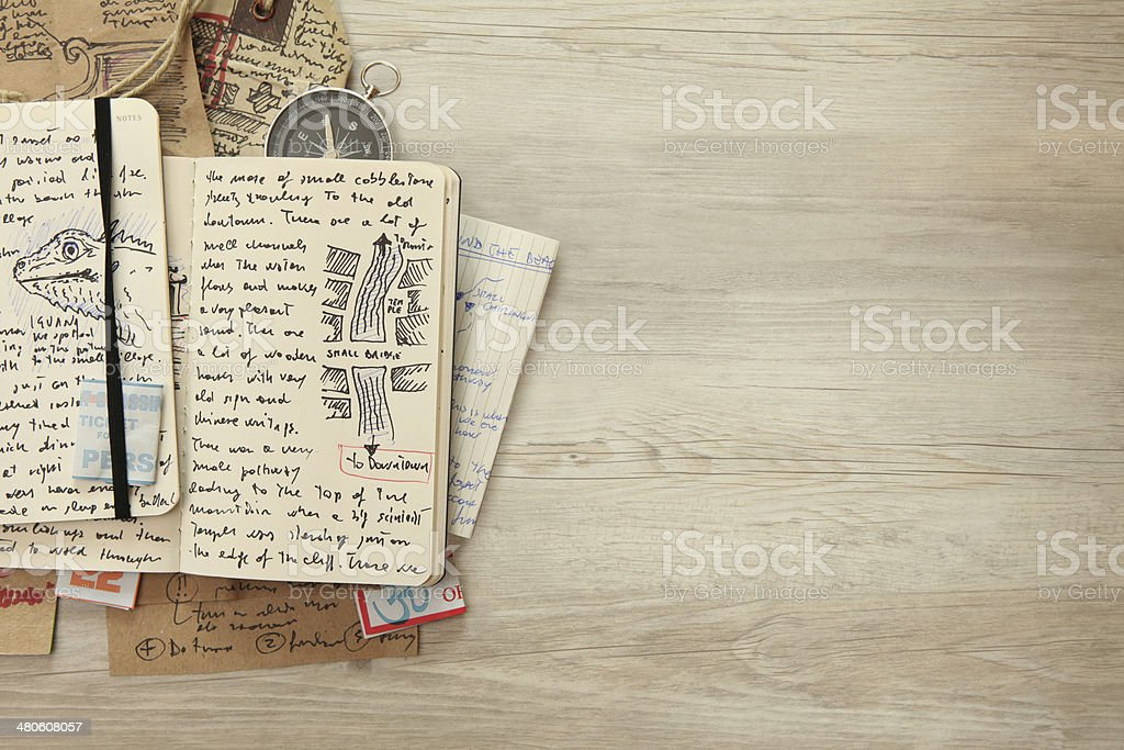 Handwritten travel diary, drawing journal storytelling, memories, souvenirs, copy space stock photo
