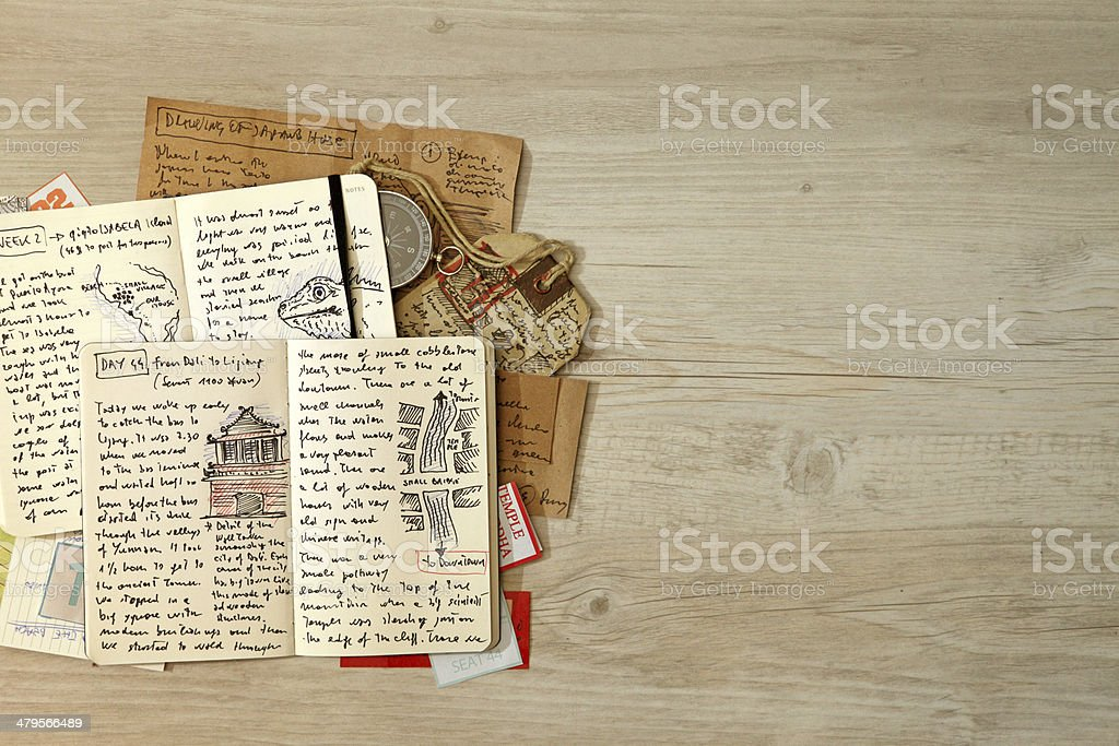 Handwritten travel diary, drawing journal storytelling, memories, souvenirs, adventurous journeys stock photo