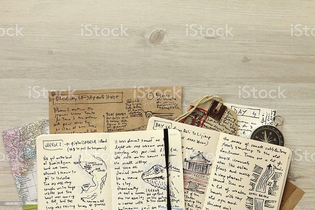 Handwritten travel diary, drawing journal storytelling, memories, souvenirs, adventurous journeys stock photo