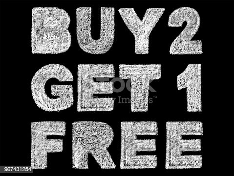 istock handwritten white bold chalk lettering buy 2 get 1 free text on black background 967431254