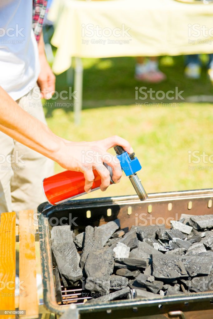 Handy man using a gas burner royalty-free stock photo