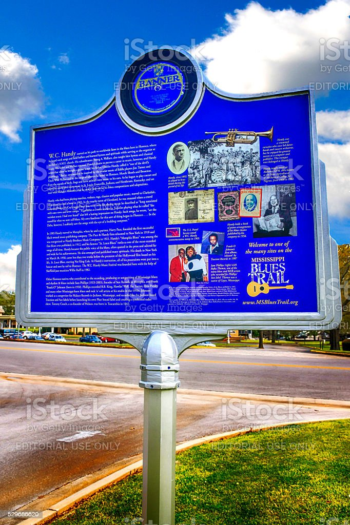 W.C. Handy musical history sign in Florence, Alabama stock photo