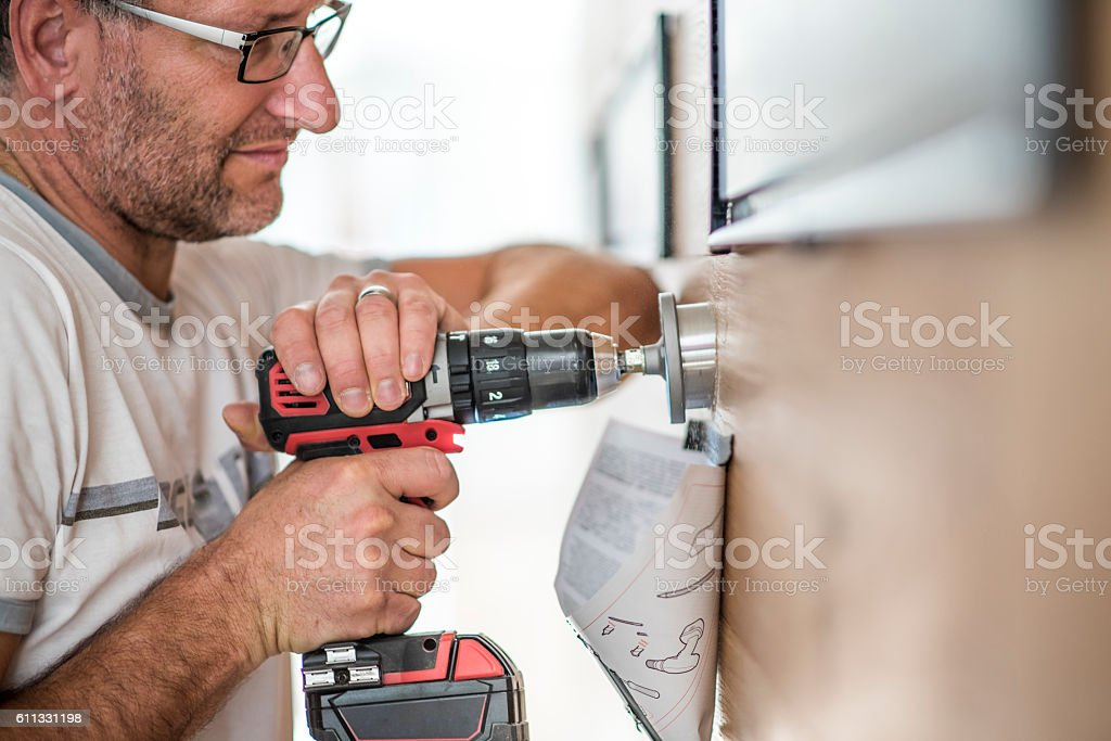 Handyman at work stock photo