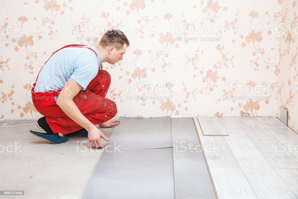 Handyman Laying Down Laminate Flooring Boards Stock Photo More