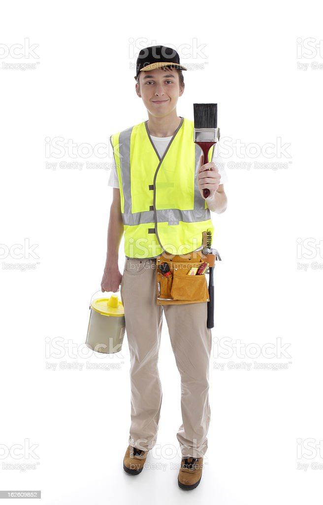 Handyman or painter ready for work stock photo