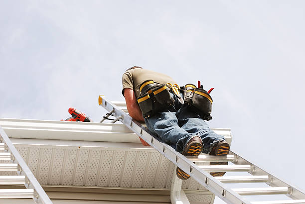Handyman up a Ladder, low angle view. stock photo