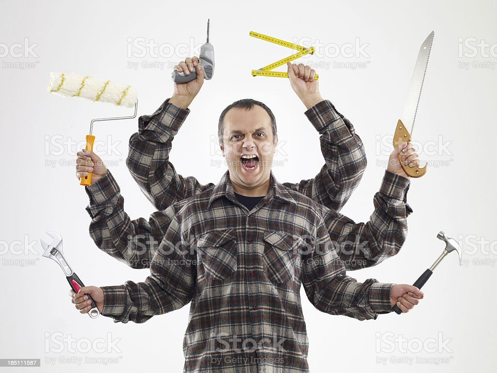 Handyman With Six Arms (Digital Composite) royalty-free stock photo