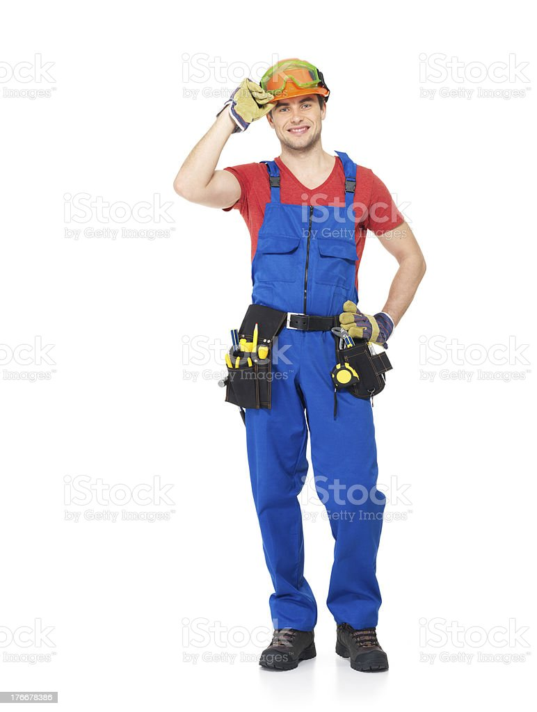 Handyman with tools full portrait isolated royalty-free stock photo