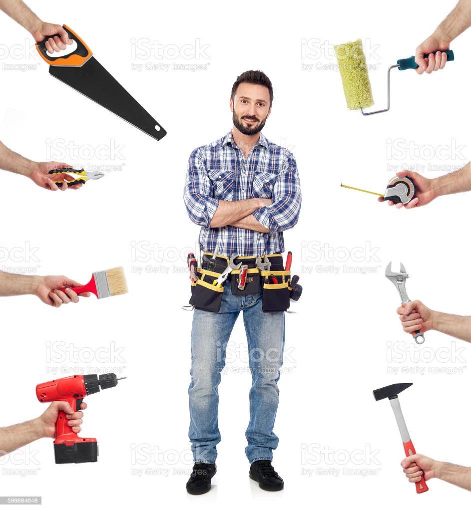Handyman with tools stock photo