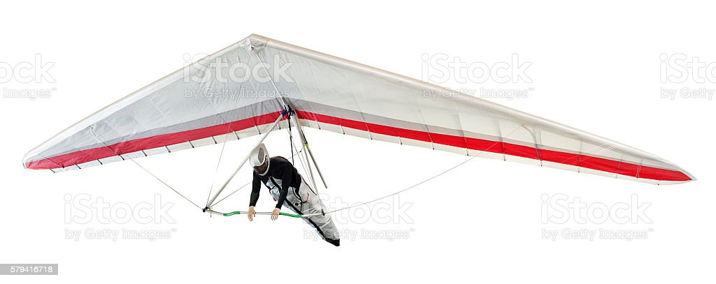 Hang glider soaring the thermal updrafts stock photo
