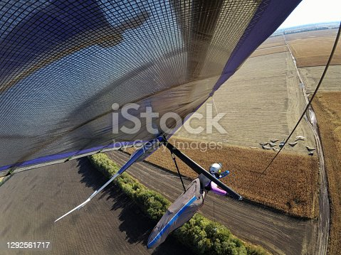 Hang glider wing over wheat field. Extreme sport