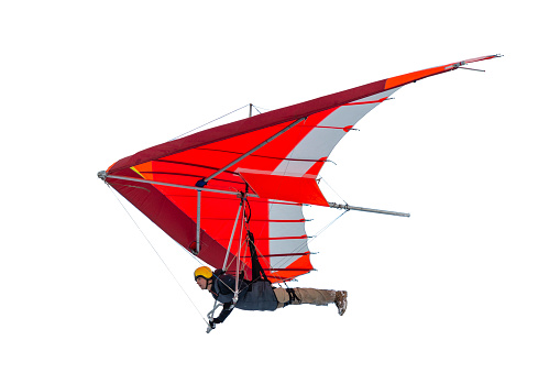 Hang glider wing silhouette isolated on white. Real wing profile