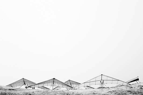 Hang Gliders in Infrared stock photo