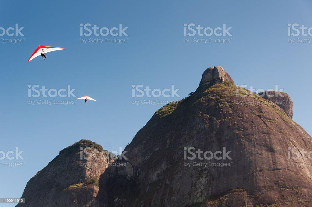 Hang Gliding from the Mountain stock photo