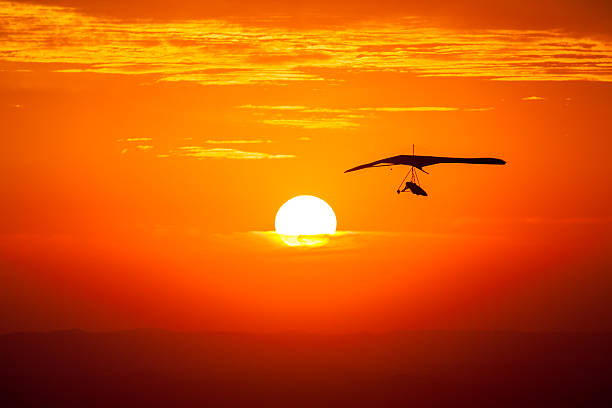 Hang gliding in the sunset stock photo