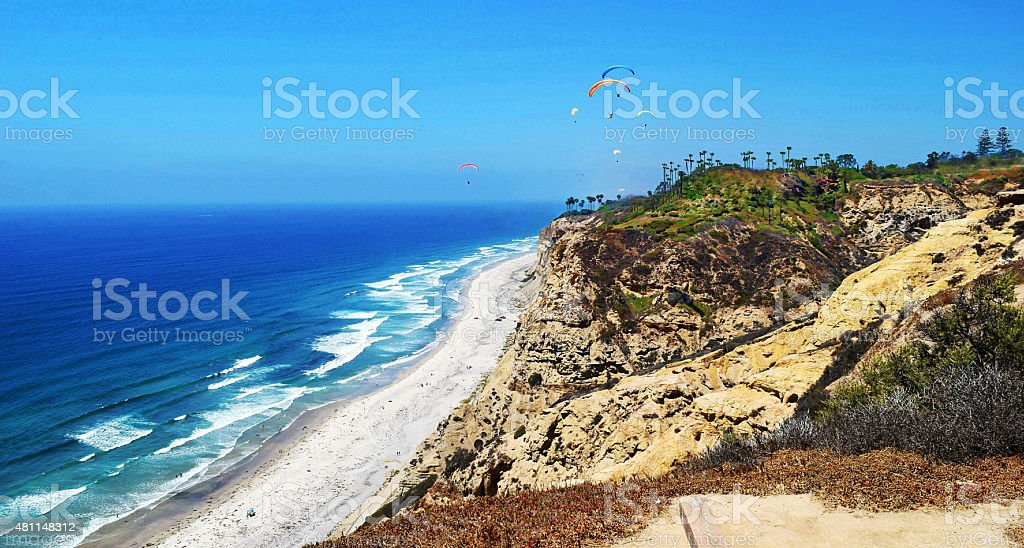 Hang Gliding over Black's Beach stock photo