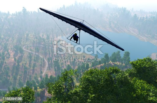 Hang gliding in the mountains.,3D render